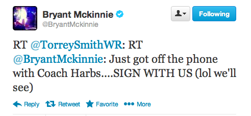 McKinnie and Harbaugh speak by phone