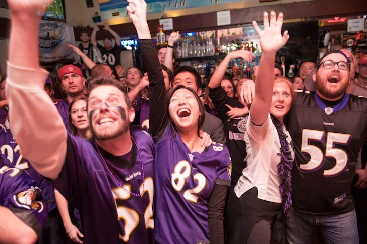 Ravens Fans Emerge From The Fog in San Francisco