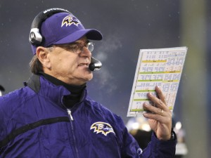 **FILE** Baltimore Ravens coach Brian Billick looks over plays on the sidelines during the first half of the NFL football game against the Pittsburgh Steelers, in this Dec. 30, 2007, file photo in Baltimore. Billick was fired as coach of the Ravens on Monday, Dec. 31, 2007, less than a day after his team concluded a disappointing 5-11 season. (AP Photo/Gail Burton, File)