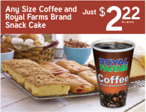 Any size coffee Royal Farms deal