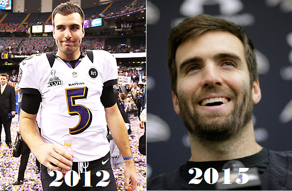 Joe Flacco's hair during the 2012 season and Joe Flacco's hair during the 2015 season