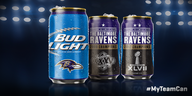 Bud Light's Ravens Super Bowl Cans