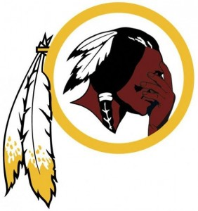 The Washington Redskins logo altered to have the Indian's head in his hands.