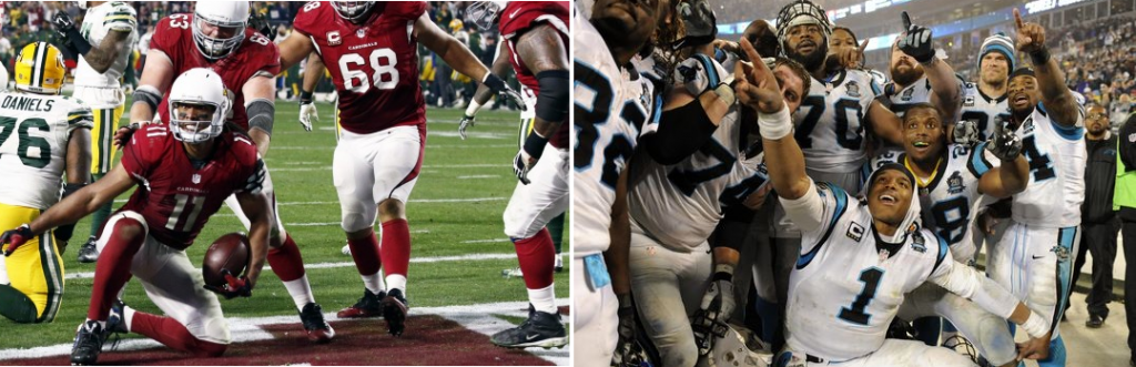 Cardinals WR Larry Fitzgerald gets up after scoring a touchdown, surrounded by his linemen (left). Panthers QB Cam Newton pointing up and to the right, celebrating a win with a bunch of his Carolina teammates (right).