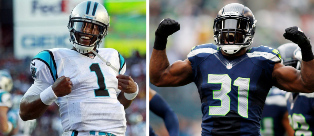 Panthers QB Cam Newton does his Superman stance (right). Seahawks S Kam Chancellor shows off his muscles.