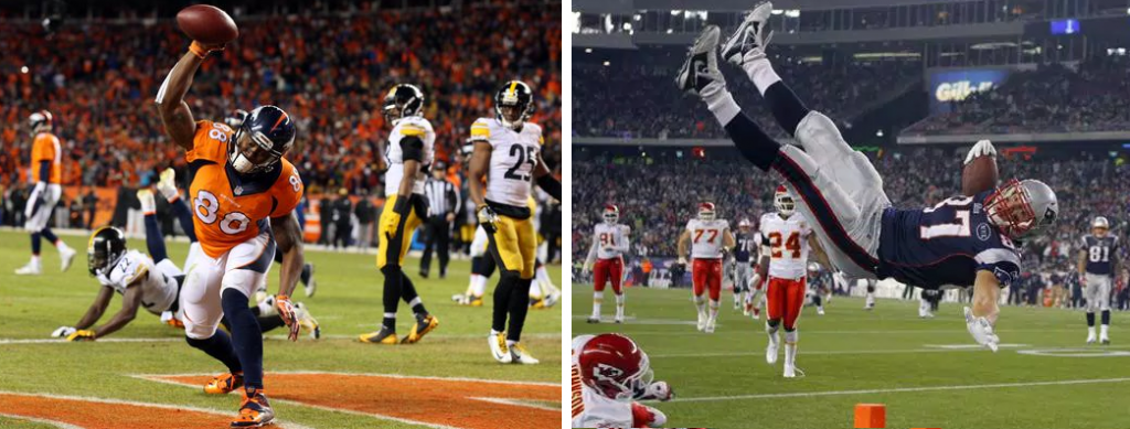 Broncos WR Demaryius Thomas slams the ball to the ground after scoring a touchdown (left). Patriots TE Rob Gronkowski flies in the air toward the endzone, looking for the goal line on his way to a touchdown (right).