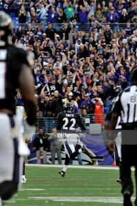BALTIMORE, MD - DECEMBER 27, 2015: Cornerback Jimmy Smith #22 of the Baltimore Ravens returns an interception for a touchdown during a game against the Pittsburgh Steelers on December 27, 2015 at M&T Bank Stadium in Baltimore, Maryland. Baltimore won 20-17. The play was called back due to a penalty. (Photo by: Nick Cammett/Diamond Images/Getty Images)  *** Local Caption *** Jimmy Smith
