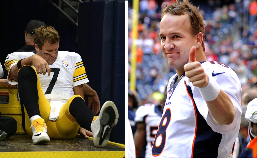 Steelers QB Ben Roethlisberger is carted off the field (left). Broncos QB Peyton Manning gives the thumbs up (right).