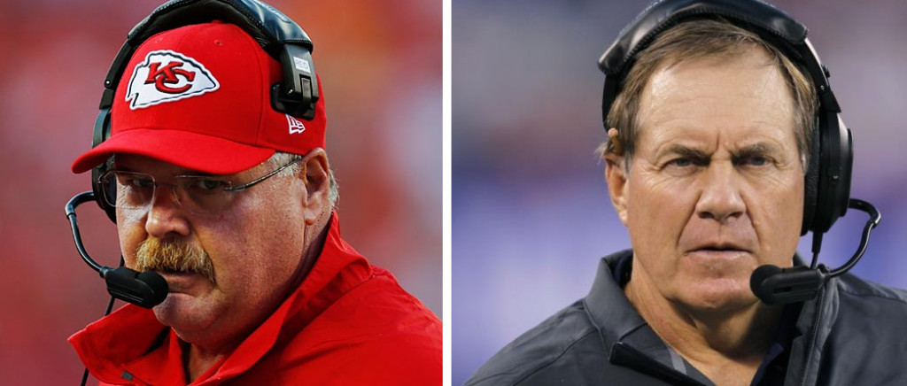 Left - Chiefs Head Coach Andy Reid wearing a red hat and jacket and this headset. Right - Bill Belichick with his trademark mug wearing a gray jacket and his headset.