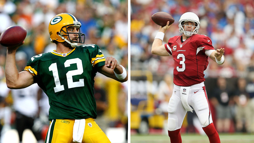 Packers QB Aaron Rodgers, wearing his green jersey gets ready to throw. Right - Cardinals QB Carson Palmer  wears his red home jersey and prepares to throw short.