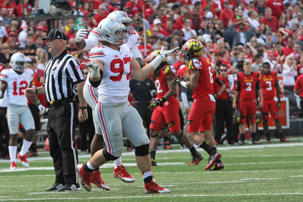 Ohio St. DE Joey Bosa shrugs his shoulders after making a play vs. the Maryland Terps.