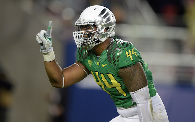 Dec 5, 2014; Santa Clara, CA, USA; Oregon Ducks defensive end DeForest Buckner (44) celebrates after a sack in the second quarter against the Arizona Wildcats in the Pac-12 Championship at Levi's Stadium.