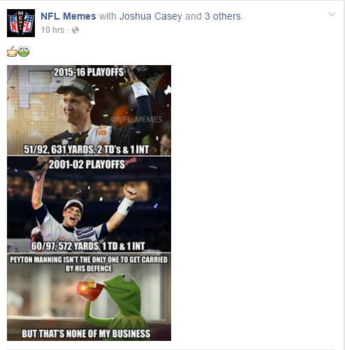 NFL Memes updates the description to exclude Joe Flacco in its Manning-Brady comparison.