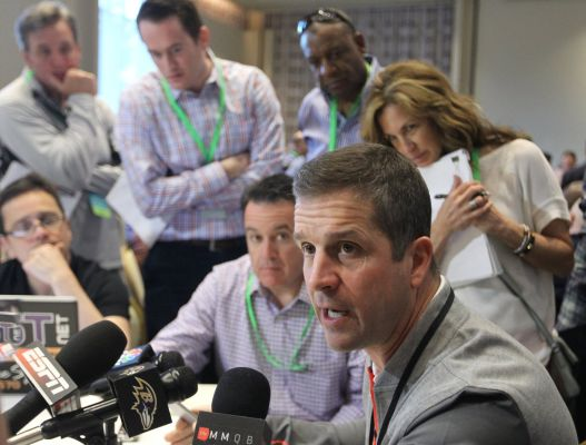 Harbaugh Holds Court at Owners Meetings