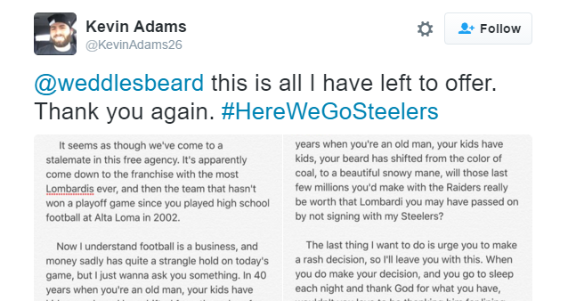 Steelers Fan's Letter to Eric Weddle