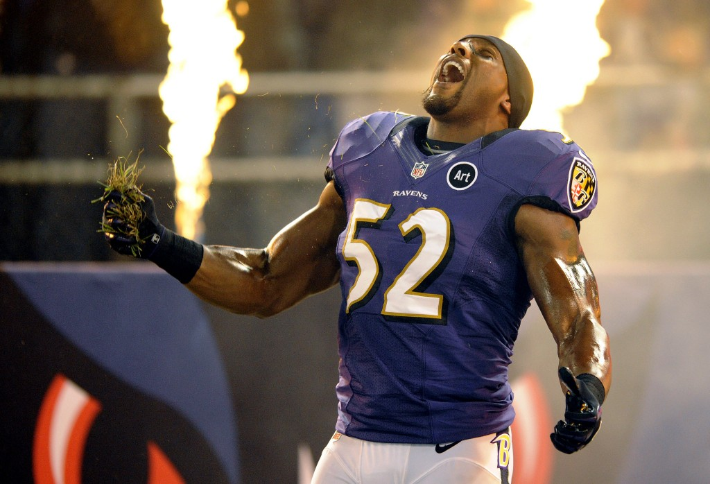 Ray Lewis grabbing his patch of dirt before his Squirrel Dance.