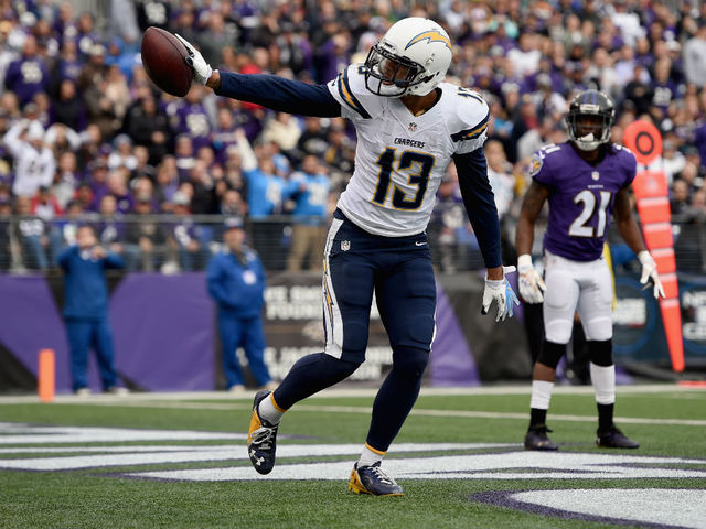 Chargers WR Keenan Allen celebrates a touchdown vs. the Ravens in Baltimore.