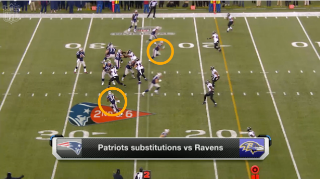 What the Patriots deceptive formation looked like after the snap.