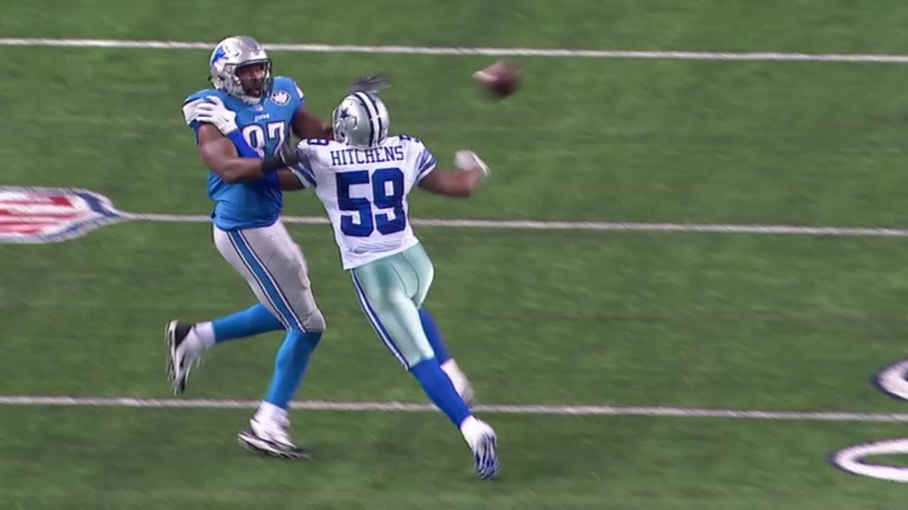 Cowboys LB Hitchens interferes with Lions TE Brandon Pettigrew in the Divisional Round of the 2014 playoffs.