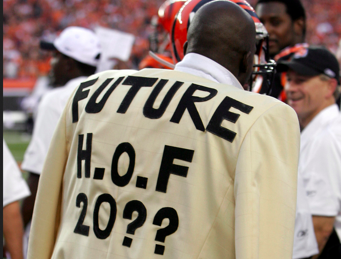 A man in a homemade jacket that says Future HOF 20??
