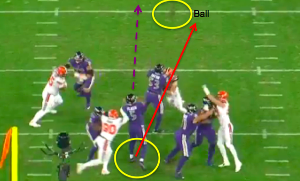 Joe Flacco's poor footwork on display.