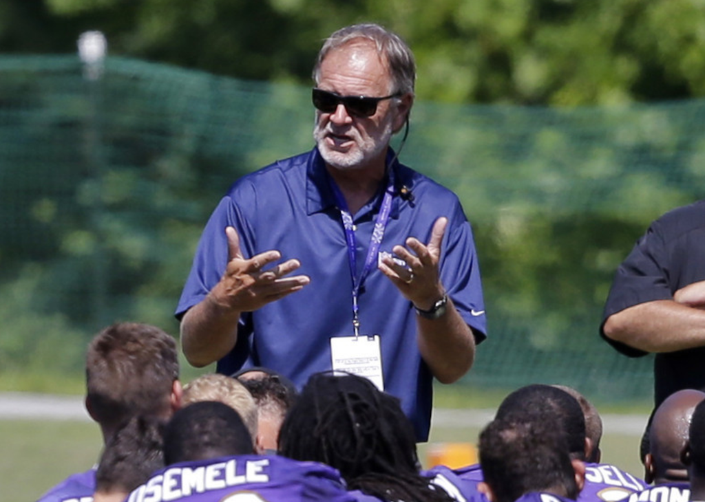 Brian Billick addresses the Ravens at training camp...Photo Credit: Baltimore Sun