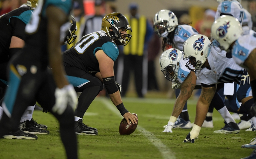 Dec 18, 2014; Jacksonville, FL, USA; General view of the line of scrimmage as Jacksonville Jaguars center Luke Bowanko (70) snaps the ball against the Tennessee Titans at EverBank Field. The Jaguars defeated the Titans 21-13. Mandatory Credit: Kirby Lee-USA TODAY Sports