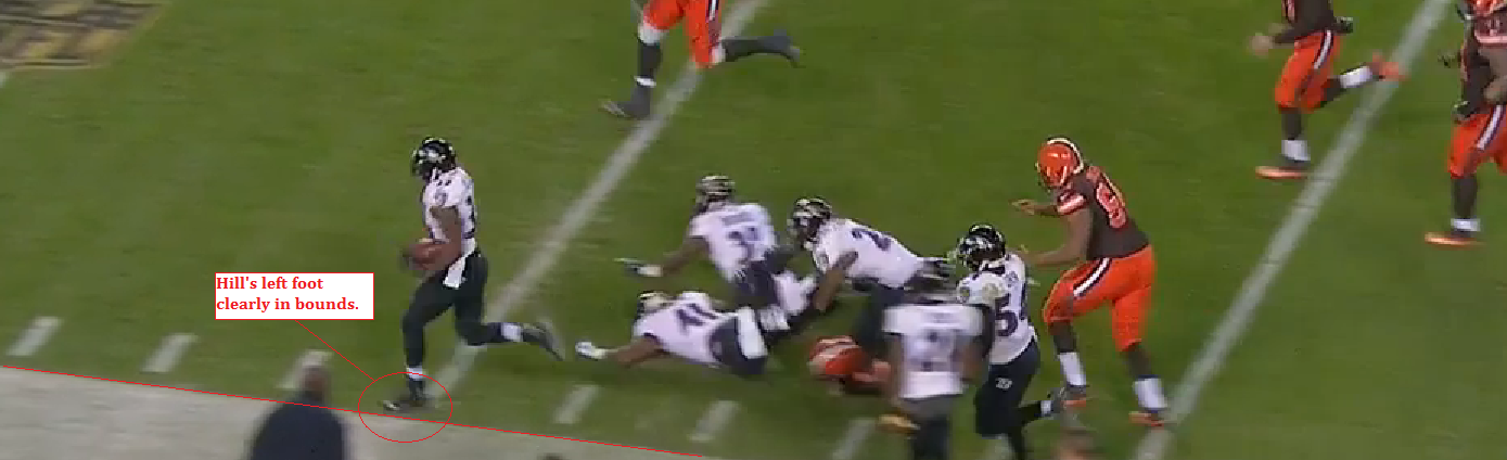 Will Hill's foot is clearly in bounds as he runs down the sideline against the Browns.