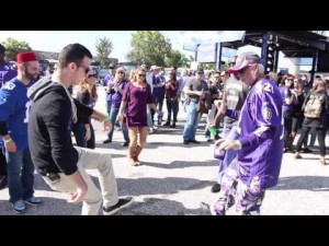 Fanimal tailgate, Ravens fans dance at a tailgate, organized by BMORE Around Town.