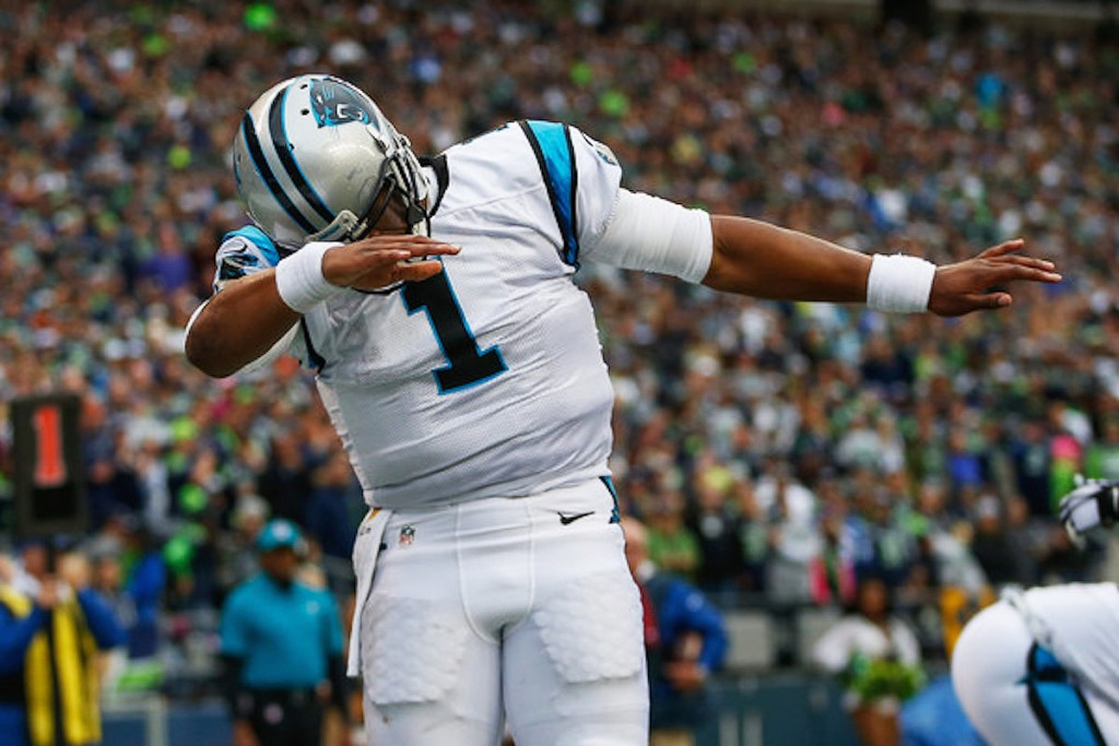Panthers QB Cam Newton does the dab.