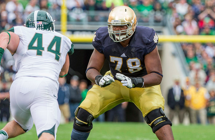 Ronnie Stanley of Notre Dame blocks against Michigan State.