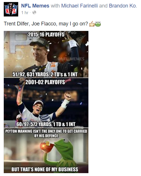 NFL Memes comparing Joe Flacco's Super Bowl run to Trent Dilfer's, Peyton Manning's 2nd run, and Tom Brady's 1st.