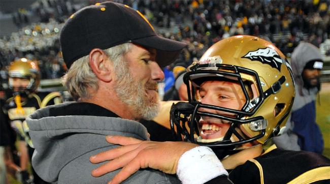 Brett Favre coaching at Fawn Grove High School in his hometown.