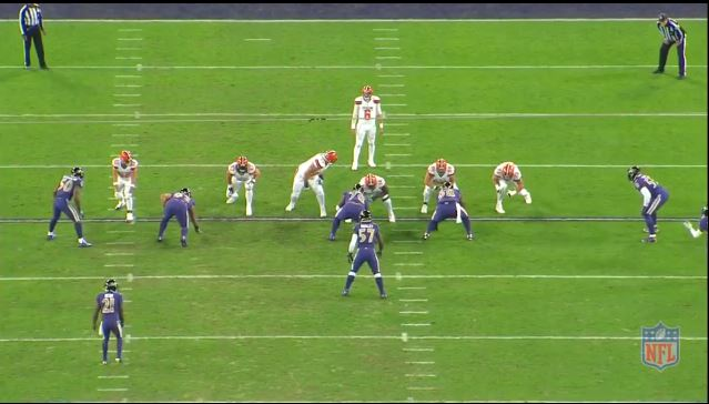 All 22 shot of a Ravens vs Browns play showing the nose tackle.