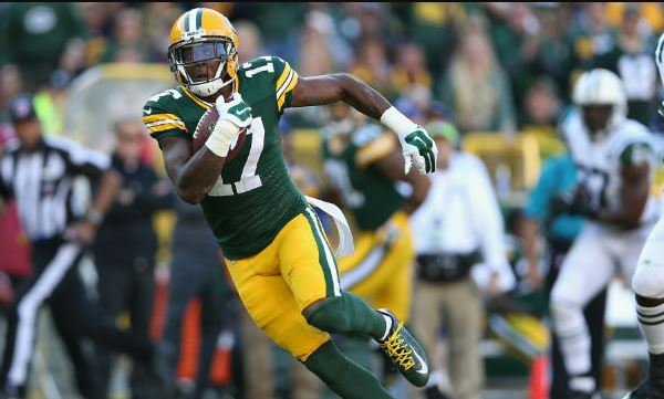 Davante Adams of the Green Bay Packers runs with the ball.