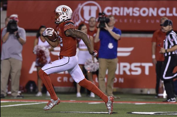 Tim Patrick of Utah runs with the football.