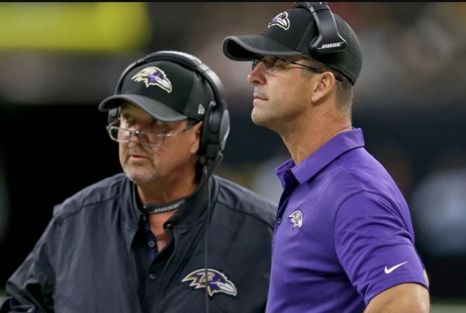 John Harbaugh and Marty Mornhinweg look on from the sideline.