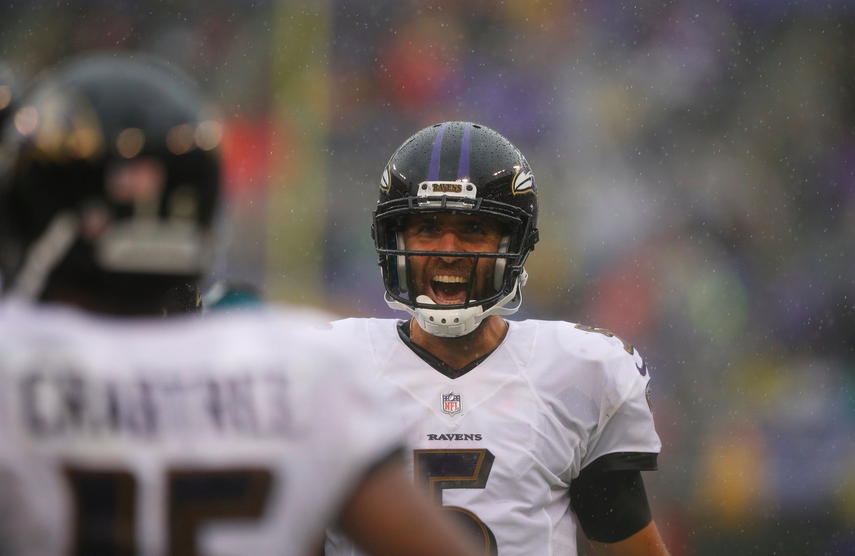 Joe Flacco exclaims after a touchdown to Michael Crabtree.
