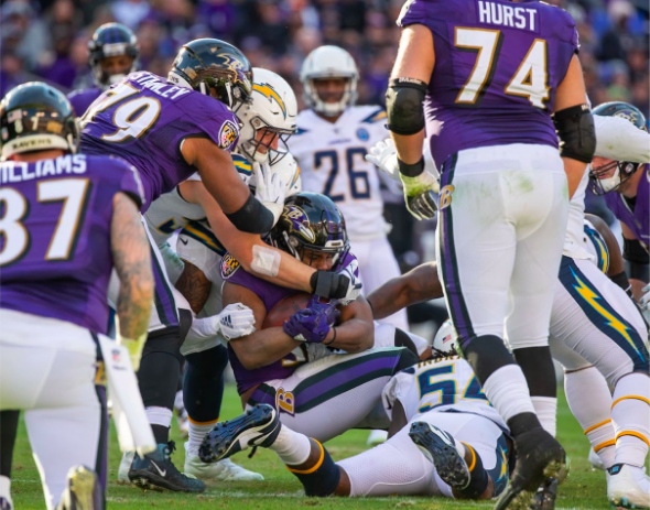 Ravens RB bottled up by Chargers defenders.