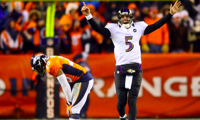Joe Flacco celebrates the Mile High Miracle.