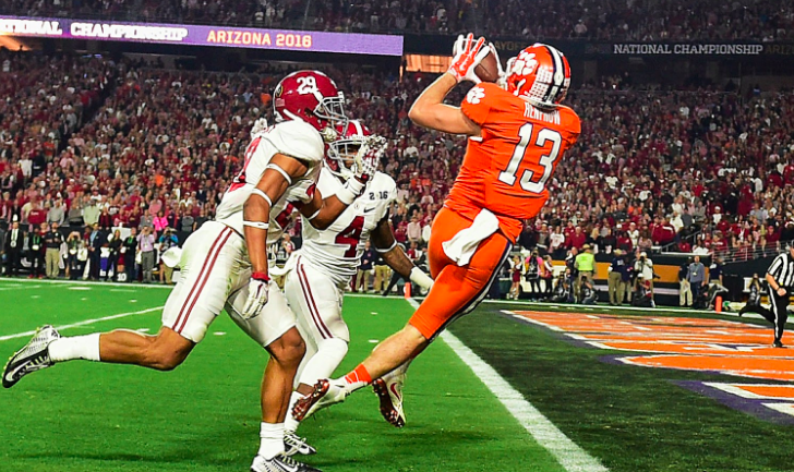 Hunter Renfrow pulls in a TD vs. Alambama