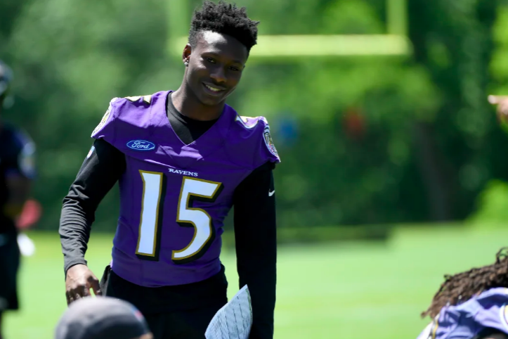 Marquise Brown smiles at OTAs