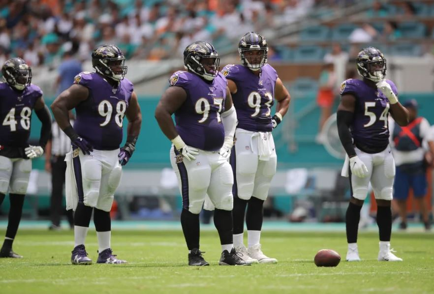 Ravens defense on the field in Miami