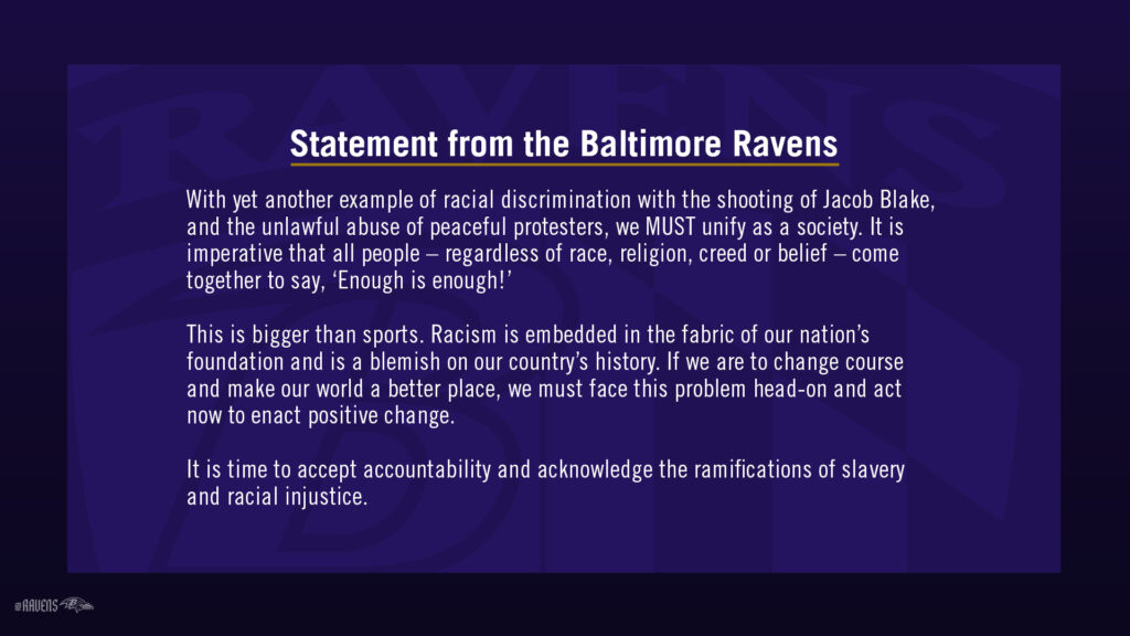 STATEMENT FROM THE BALTIMORE RAVENS